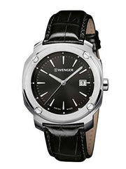 Wenger 01.1141.110 Men's Edge Index Stainless Steel Case Black Leather Strap Band Black Dial Silver Watch