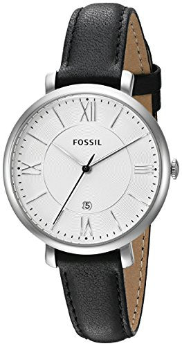 Fossil Women's ES3972 Jacqueline Stainless Steel Watch with Black Leather Band