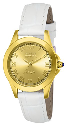Invicta Women's 14805 Angel Analog Gold Ion-Plated Watch with Interchangeable Leather Bands