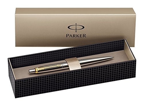 Parker Ballpoint Pen Jotter Classic Stainless Steel with Gold Trim