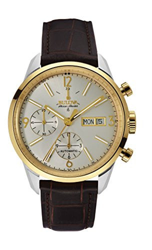 Bulova Men's Automatic Stainless Steel and Leather Casual Watch, Color:Brown (Model: 65C112)