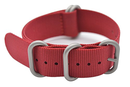 ArtStyle Watch Band with Colorful Nylon Material Strap and Heavy Duty Brushed Buckle (Red, 18mm)