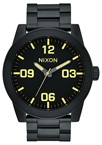 Nixon A346-1256 Corporal SS Men's Watch Black 48mm Stainless Steel