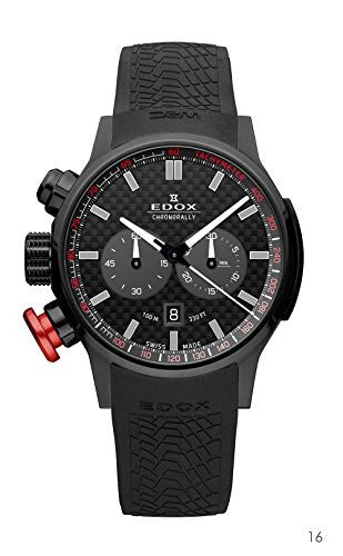 Edox Men's 10302 37N NIN Chronorally Analog Display Swiss Quartz Black Watch