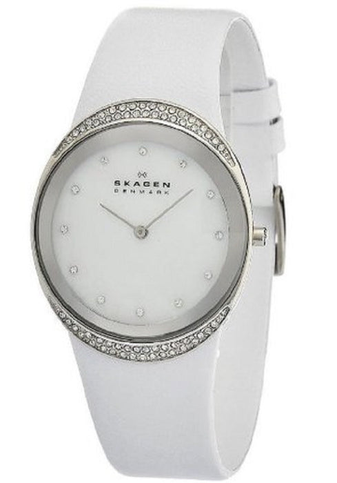 Skagen Ladies Watch 452LSLW with White Leather Strap and Mother Of Pearl Dial