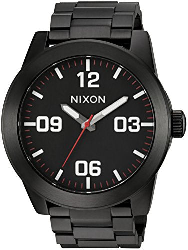 Nixon Men's 'Corporal SS' Quartz Stainless Steel Watch, Color:Black (Model: A346756-00)