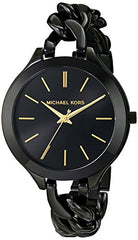 Michael Kors Women's MK3317 Slim Runway Analog Quartz Black Stainless Steel Watch