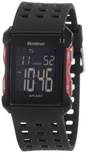 Armitron Sport Men's 408177RED Chronograph Black and Red Digital Watch