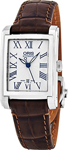 Oris Rectangular Date Womens Silver Face Luminous Hands Swiss Made Brown Leather Band Rectangle Automatic Watch 01 561 7656 4071-07 5 17 70FC