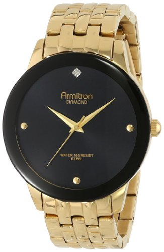 Armitron Men's 20/4952BKGP Diamond Dial Wall-to-Wall Crystal Gold-Tone Bracelet Watch