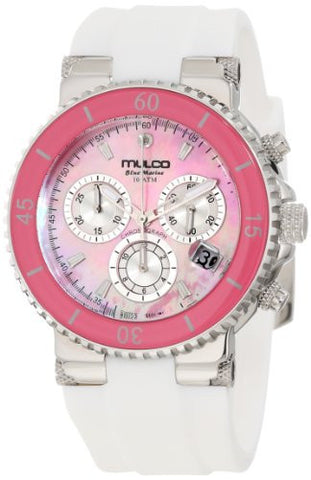 Mulco MW370604018 Women's Blue Marine Chronograph Pink Mother Of Pearl Dial White Silicone