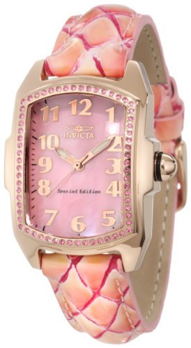 Invicta Women's 10210 Lupah Pink Mother-Of-Pearl Dial Pink Leather Watch
