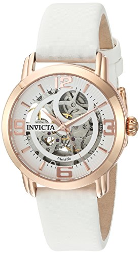 Invicta Women's 'Objet d'Art' Automatic Stainless Steel and Satin Casual Watch, Color:White (Model: 22655)