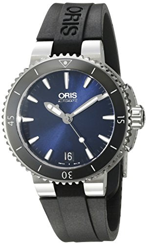 Oris Women's 'Aquis' Swiss Automatic Stainless Steel and Rubber Diving Watch, Color:Black (Model: 73376524135RS)