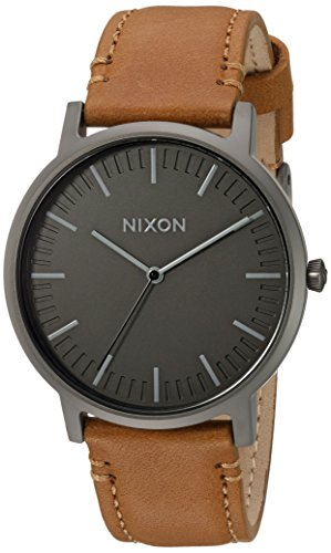 Nixon Men's 'Porter' Quartz Metal and Leather Watch, Color:Brown (Model: A10582494-00)