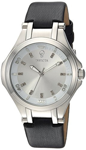Invicta Women's 'Gabrielle Union' Quartz Stainless Steel and Leather Casual Watch, Color:Black (Model: 23255)