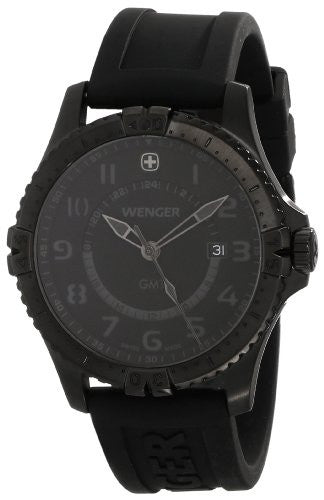 Wenger Men's 77074 Squadron GMT All-Black Rubber Strap Watch