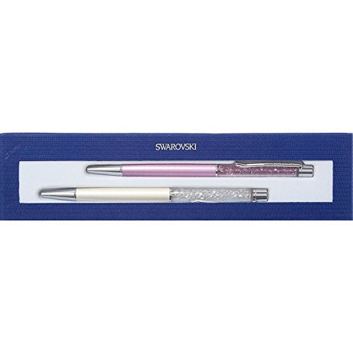 Swarovski Crystal Set of 2 Pens CRYSTALLINE LADY PEN White & Amethyst #5146335