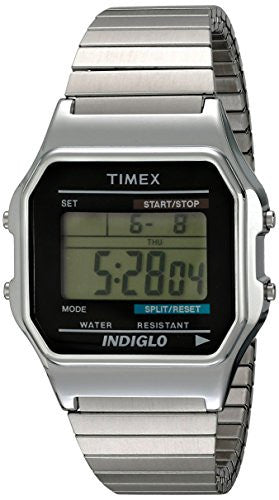 Timex Men's T78582 Classic Digital Silver-Tone Extra-Long Stainless Steel Expansion Band Watch