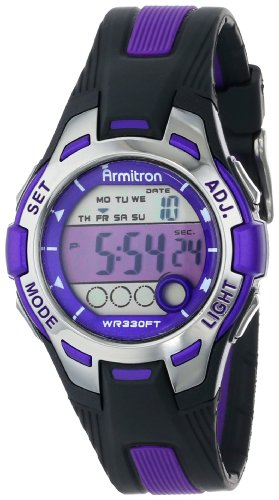Armitron Sport Women's 45/7030PUR Purple Accented Black Resin Strap Digital Chronograph Watch