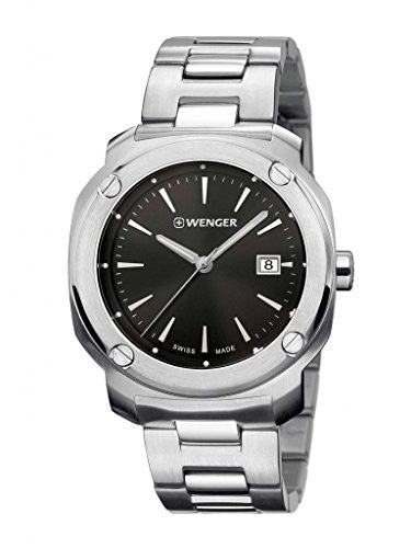 Wenger 01.1141.109 Men's Edge Index Stainless Steel Case and Bracelet Band Black Dial Silver Watch