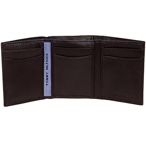 Tommy Hilfiger Men's Genuine Leather Oxford Slim Trifold Wallet (Brown)