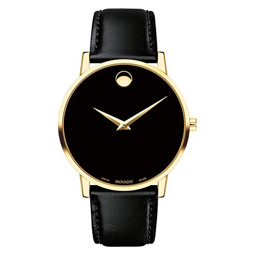 MOVADO Swiss Museum Classic Black Dial Men's Gold Slim Leather Watch