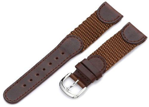 Hadley-Roma Men's MSM866RB 200 20-mm Brown 'Swiss-Army' Style Nylon and Leather Watch Strap