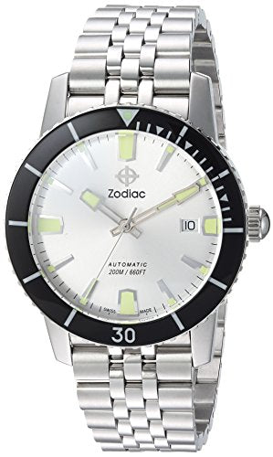 Zodiac Men's 'Super Seawolf 53 Comp' Swiss Automatic Stainless Steel Casual Watch, Color:Silver-Toned (Model: ZO9255)