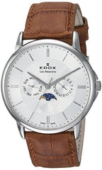Edox Men's 'Les Bemonts' Swiss Quartz Stainless Steel and Leather Dress Watch, Color:Brown (Model: 40002 3 AIN)