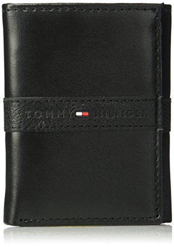 Tommy Hilfiger Men's RFID Blocking Leather Ranger Extra Capacity Trifold Wallet, black, One Size