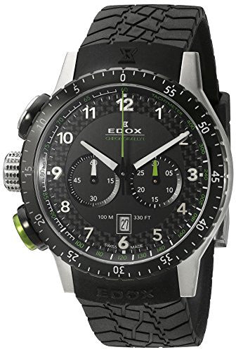 Edox Men's 10305 3NV NV Chronorally 1 Analog Display Swiss Quartz Black Watch
