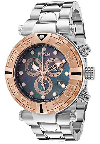 Invicta Men's Subaqua Chronograph Stainless Steel Black Mother of Pearl Dial Rose-Tone Bezel