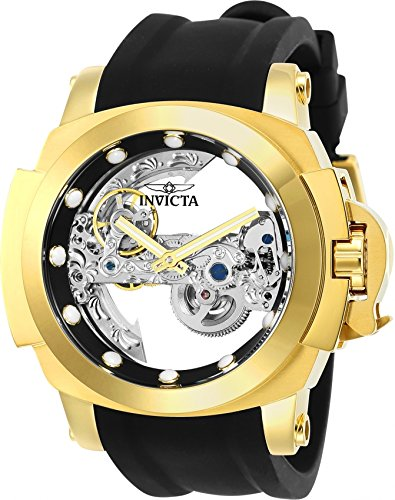 Invicta Men's 'Coalition Forces' Automatic Stainless Steel and Silicone Casual Watch, Color:Black (Model: 24708)