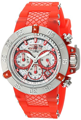 Invicta Women's 'Subaqua' Quartz Stainless Steel and Silicone Casual Watch, Color:Red (Model: 24375)