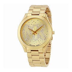 Michael Kors Women's Slim Runway Logo Gold-Tone Watch MK3590