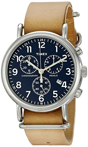Timex Unisex TW2P62300 Weekender Chrono Oversize Tan Leather Slip-Thru Strap Watch