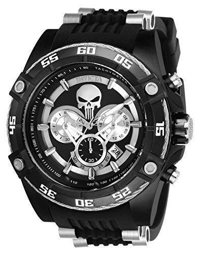 Invicta Men's 'Marvel' Quartz Stainless Steel and Silicone Watch, Color:Black (Model: 26859)