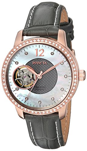 Invicta Women's 'Objet D Art' Automatic Gold and Leather Casual Watch, Color:Grey (Model: 22623)