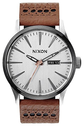 Saddle/Silver The Sentry Leather Watch by Nixon