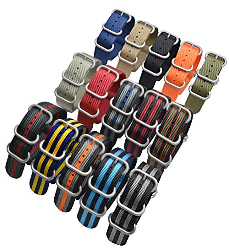 ArtStyle Watch Band with Colorful Nylon Material Strap and Heavy Duty Brushed Buckle (Black, 18mm)