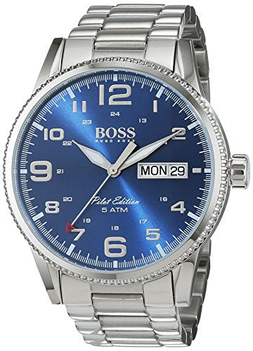 Hugo Boss Pilot Vintage 1513329 Silver / Blue Stainless Steel Analog Quartz Men's Watch