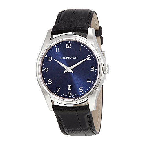 Hamilton Men's 'Jazzmaster' Swiss Quartz Stainless Steel and Leather Dress Watch, Color:Black (Model: H38511743)