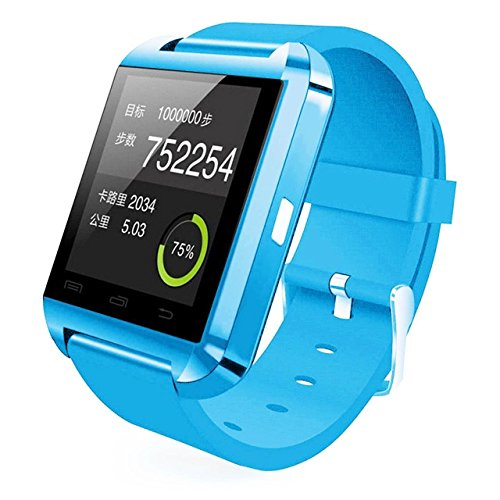 Colofan Smartwatch Luxury U8 Bluetooth Smart Watch WristWatch Phone with Camera Touch Screen for IOS Iphone Android Smartphone Samsung Smartphone (sky blue)