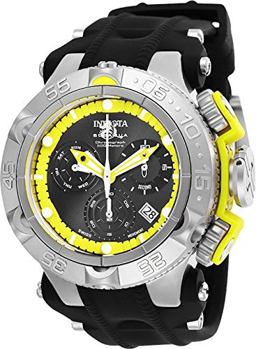 Invicta Men's 'Subaqua' Quartz Stainless Steel and Silicone Watch, Color:Black (Model: 25350)