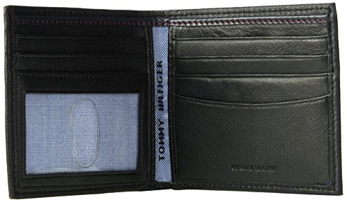 Tommy Hilfiger Men's RFID Blocking 100% Leather Oxford Id Billfold Wallet, black, One Size