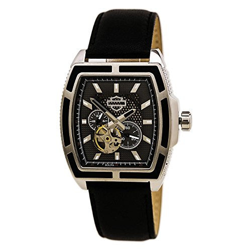 Harley-Davidson Mens Bulova Watch, Mechanical Open Aperture, Black Strap 76A150