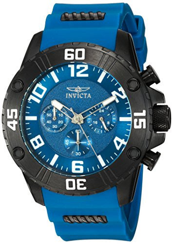 Invicta Men's 'Pro Diver' Quartz Stainless Steel and Silicone Casual Watch, Color:Blue (Model: 22701)