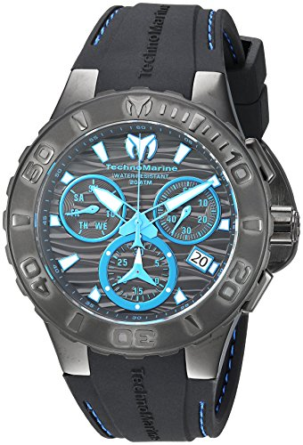 Technomarine Men's 'Cruise' Quartz Stainless Steel and Silicone Casual Watch, Color:Black (Model: TM-115080)