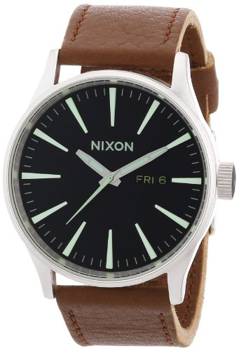 Nixon A105-1037 Mens Sentry Black Saddle Watch